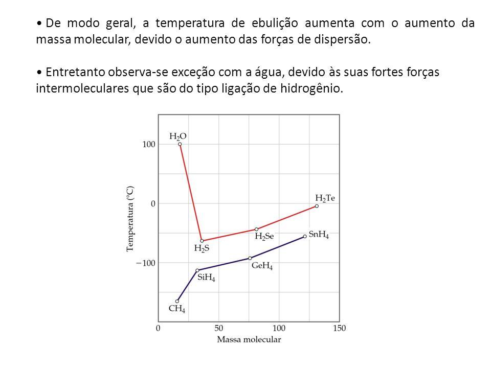 De modo geral, a temperatura de ebulição aumenta com o aumento da massa molecular, devido o aumento das forças de dispersão.