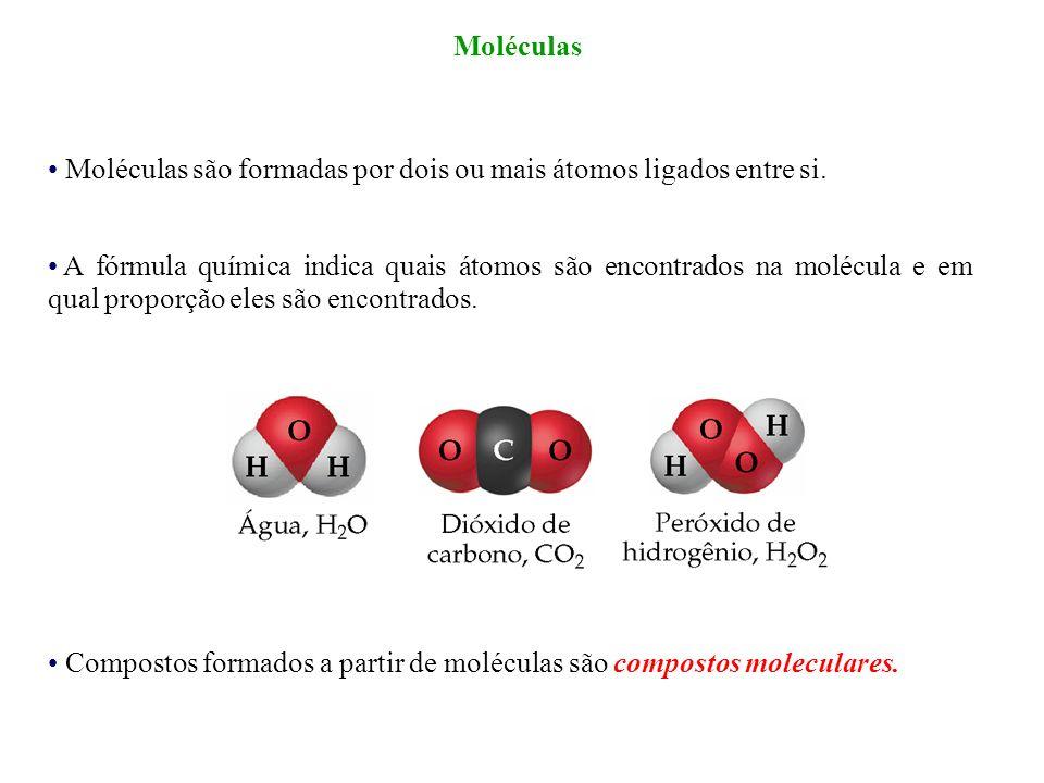 Moléculas Moléculas são formadas por dois ou mais átomos ligados entre si.