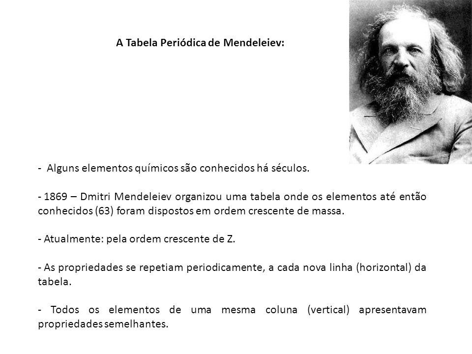 A Tabela Periódica de Mendeleiev: