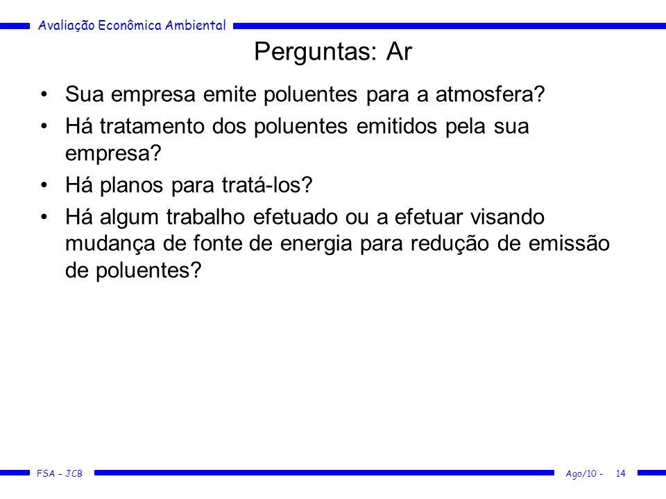 Perguntas: Ar Sua empresa emite poluentes para a atmosfera