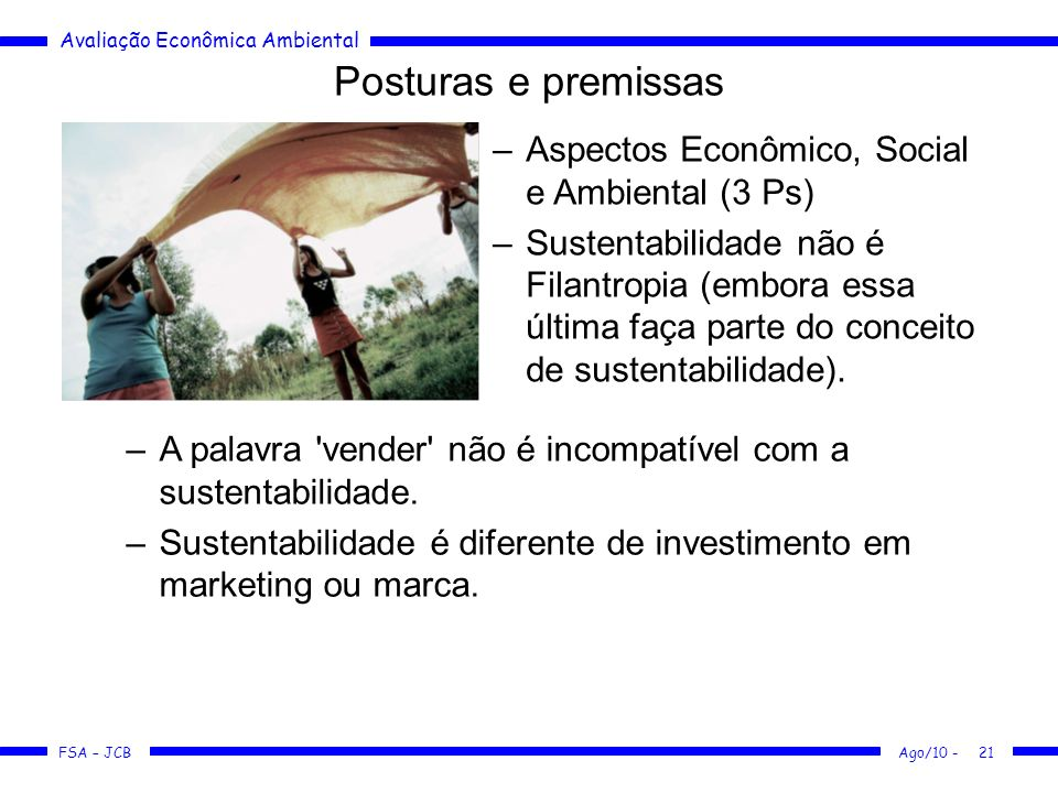 Posturas e premissas Aspectos Econômico, Social e Ambiental (3 Ps)