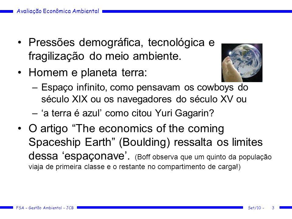 Pressões demográfica, tecnológica e fragilização do meio ambiente.