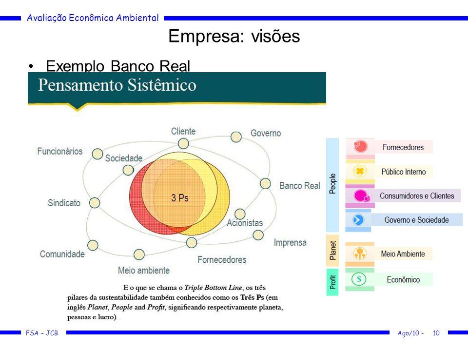 Empresa: visões Exemplo Banco Real