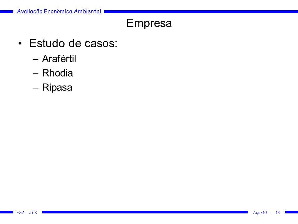 Empresa Estudo de casos: Arafértil Rhodia Ripasa Ago/10 -