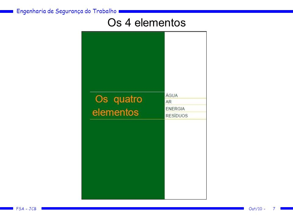 Os 4 elementos Out/10 -