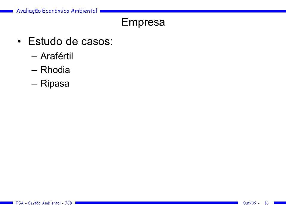 Empresa Estudo de casos: Arafértil Rhodia Ripasa Out/09 -