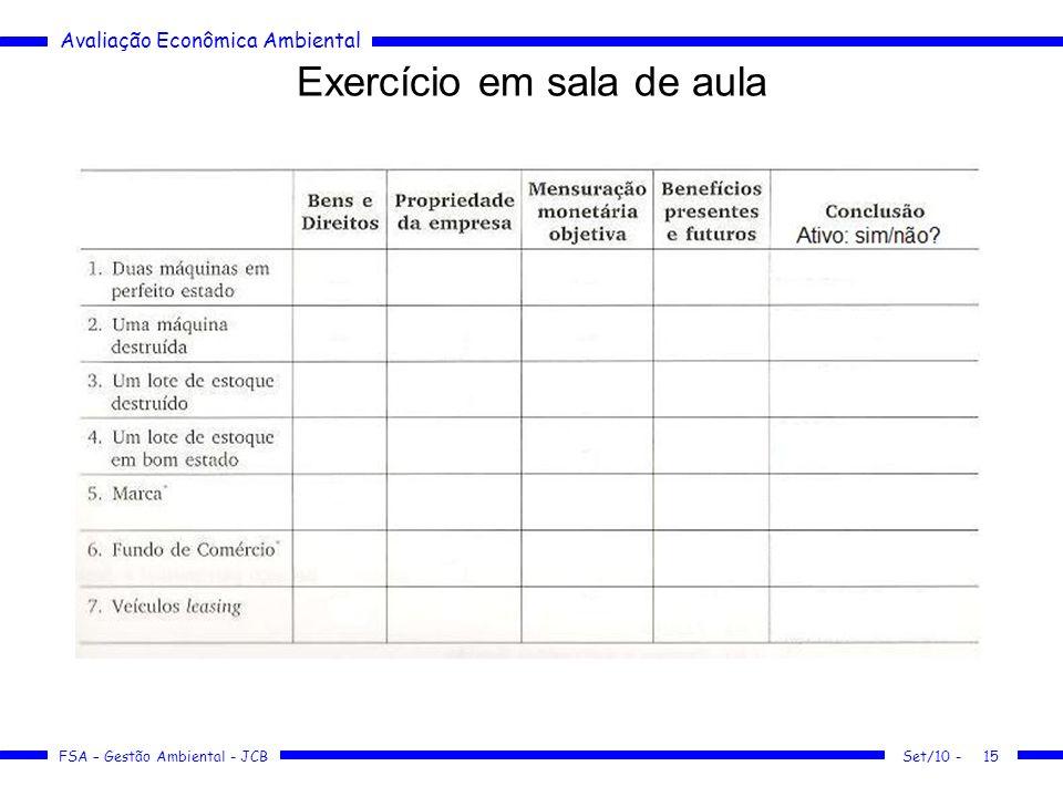 Exercício em sala de aula