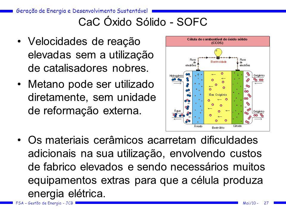 CaC Óxido Sólido - SOFC Velocidades de reação elevadas sem a utilização de catalisadores nobres.