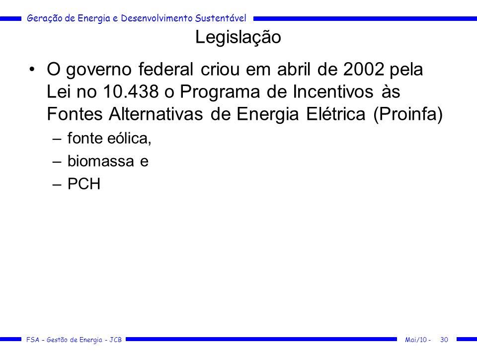 LegislaçãoO governo federal criou em abril de 2002 pela Lei no 10.438 o Programa de Incentivos às Fontes Alternativas de Energia Elétrica (Proinfa)
