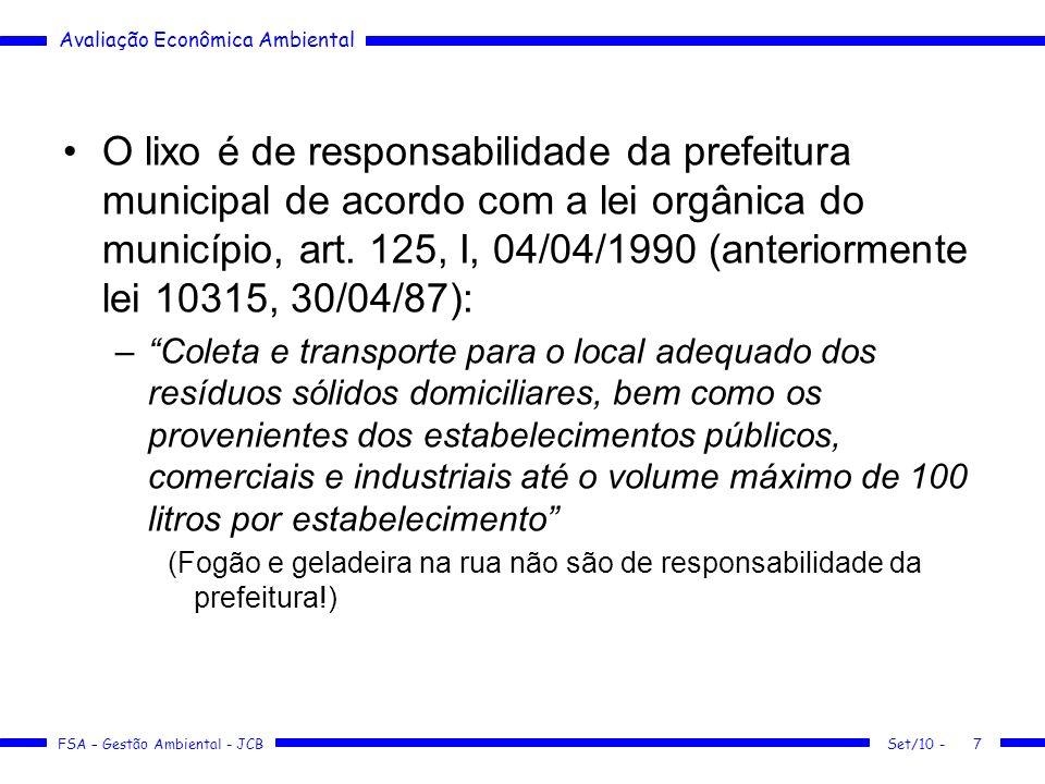 O lixo é de responsabilidade da prefeitura municipal de acordo com a lei orgânica do município, art. 125, I, 04/04/1990 (anteriormente lei 10315, 30/04/87):