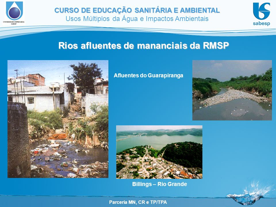 Rios afluentes de mananciais da RMSP Afluentes do Guarapiranga