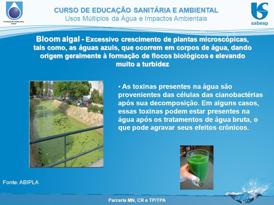 Bloom algal - Excessivo crescimento de plantas microscópicas, tais como, as águas azuis, que ocorrem em corpos de água, dando origem geralmente à formação de flocos biológicos e elevando muito a turbidez