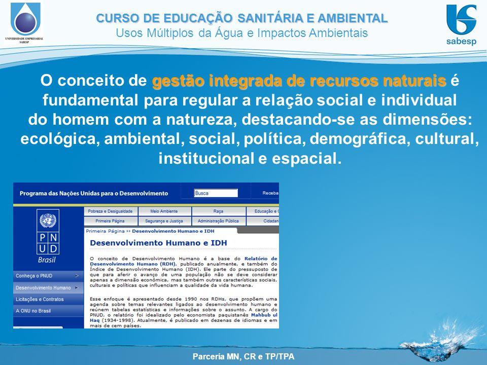 O conceito de gestão integrada de recursos naturais é fundamental para regular a relação social e individual