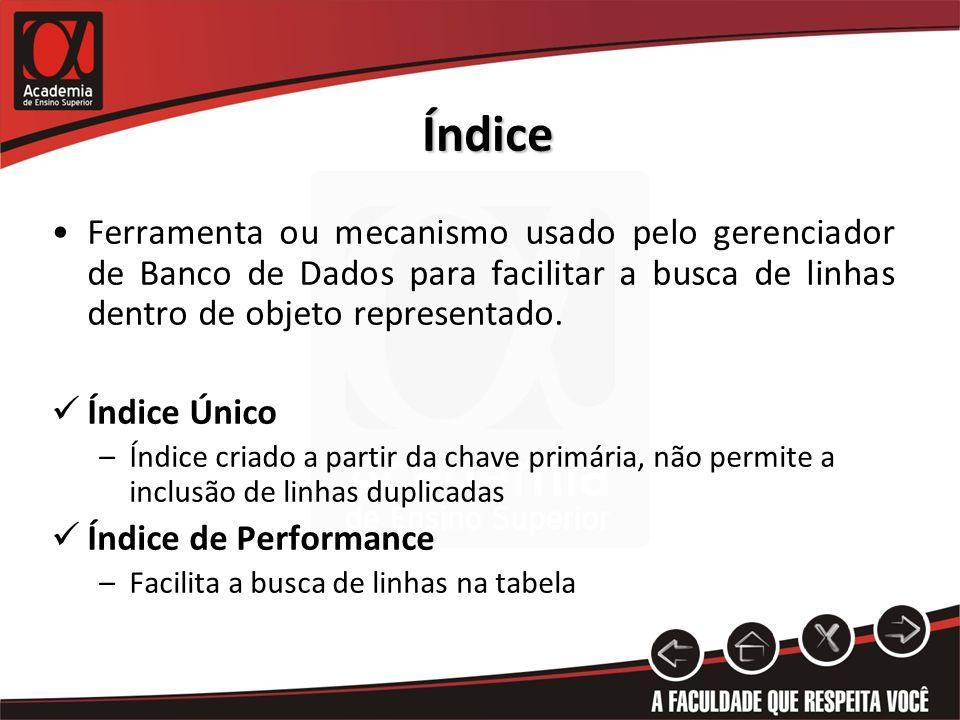 Índice Ferramenta ou mecanismo usado pelo gerenciador de Banco de Dados para facilitar a busca de linhas dentro de objeto representado.