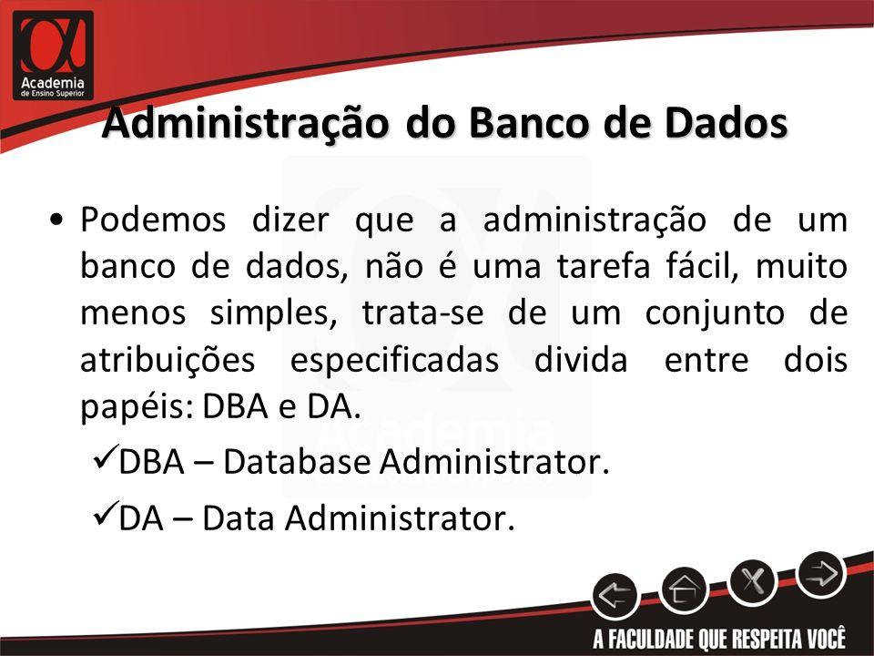 Administração do Banco de Dados