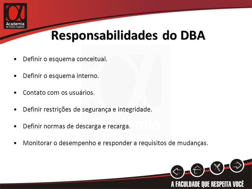 Responsabilidades do DBA
