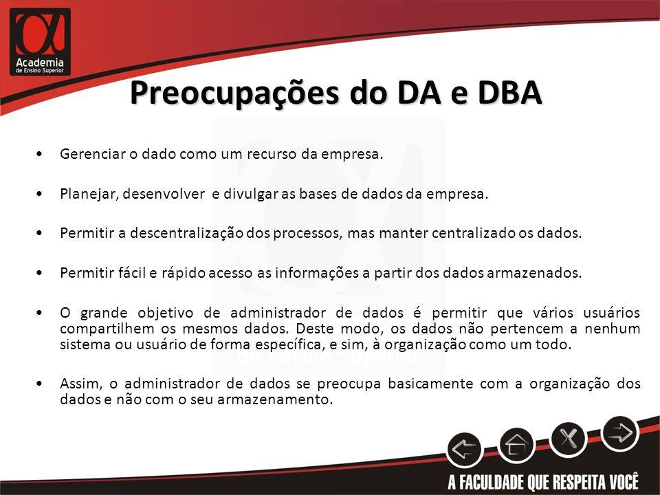 Preocupações do DA e DBA