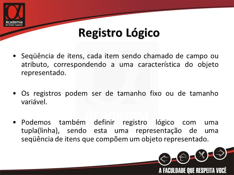 Registro Lógico Seqüência de itens, cada item sendo chamado de campo ou atributo, correspondendo a uma característica do objeto representado.