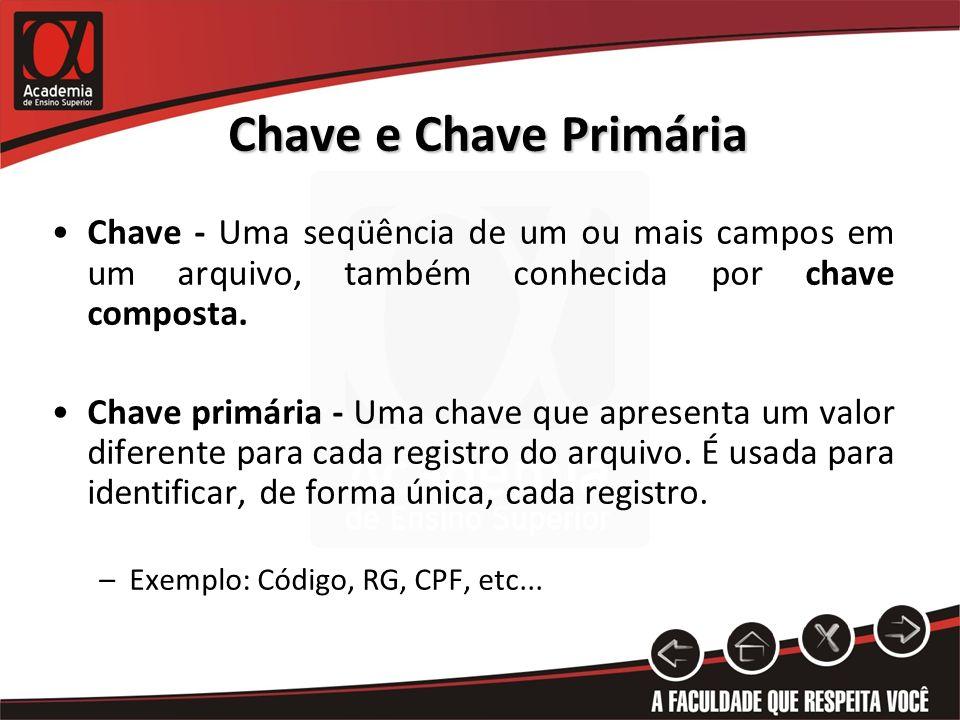 Chave e Chave Primária Chave - Uma seqüência de um ou mais campos em um arquivo, também conhecida por chave composta.