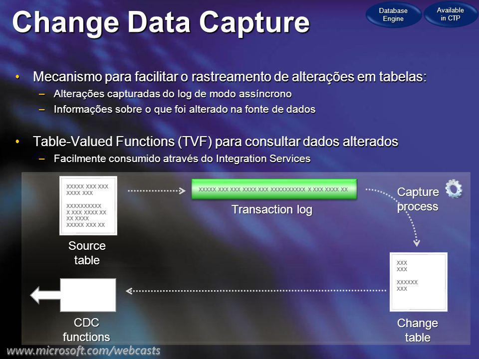 Database Engine Available in CTP. Change Data Capture. Mecanismo para facilitar o rastreamento de alterações em tabelas: