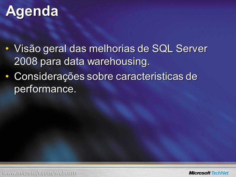 Agenda Visão geral das melhorias de SQL Server 2008 para data warehousing.