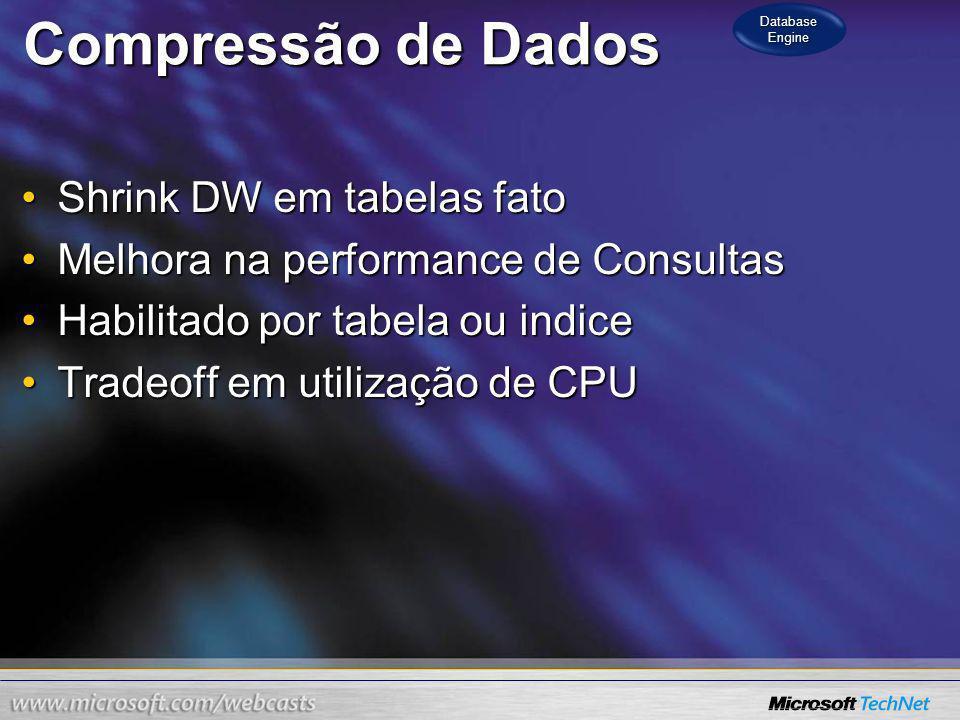 Compressão de Dados Shrink DW em tabelas fato