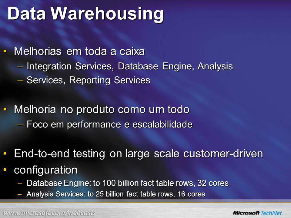 Data Warehousing Melhorias em toda a caixa