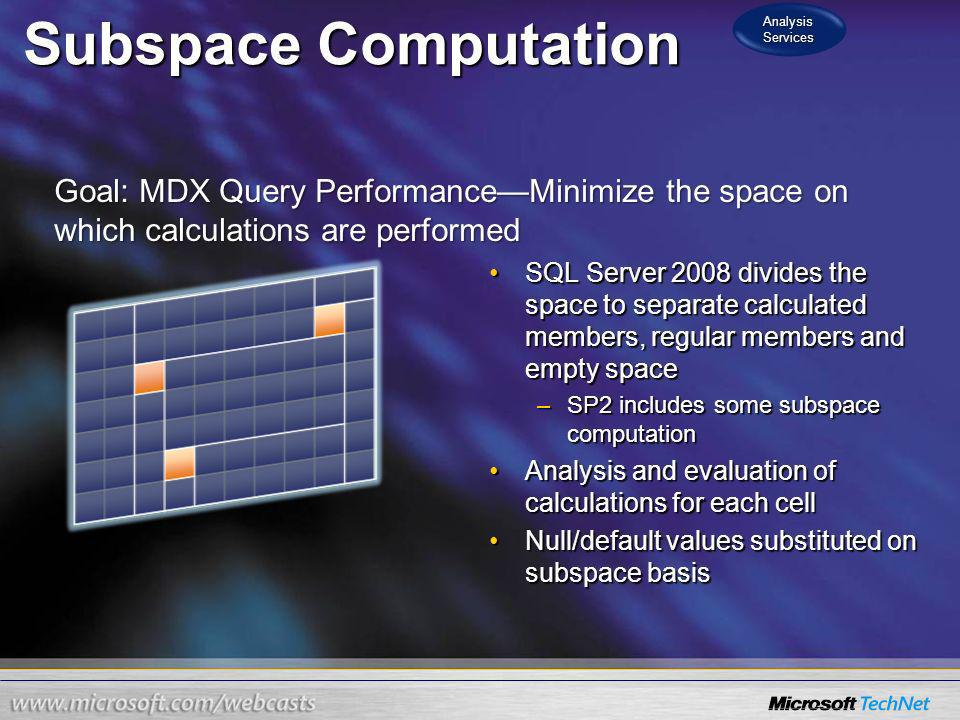 Analysis Services Subspace Computation. Goal: MDX Query Performance—Minimize the space on which calculations are performed.