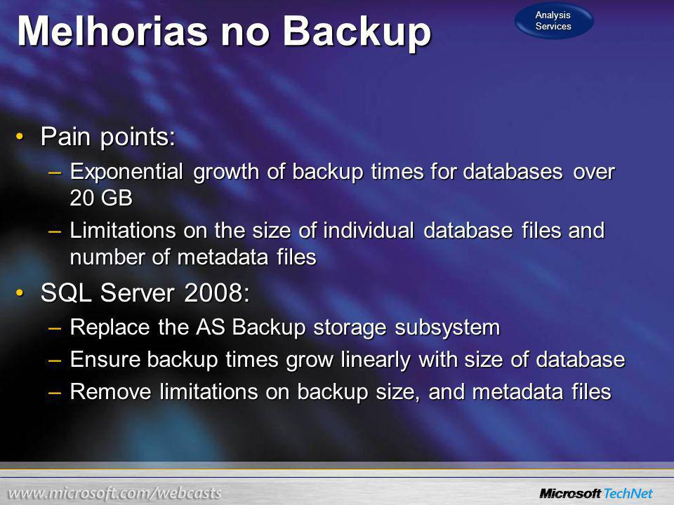Melhorias no Backup Pain points: SQL Server 2008: