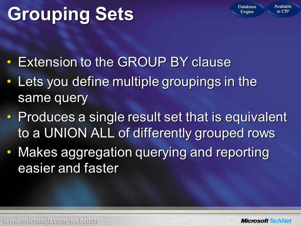 Grouping Sets Extension to the GROUP BY clause