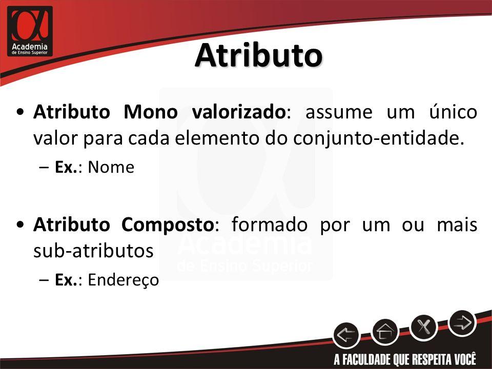 Atributo Atributo Mono valorizado: assume um único valor para cada elemento do conjunto-entidade. Ex.: Nome.