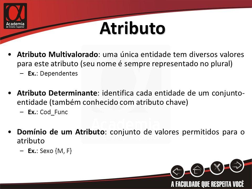 AtributoAtributo Multivalorado: uma única entidade tem diversos valores para este atributo (seu nome é sempre representado no plural)