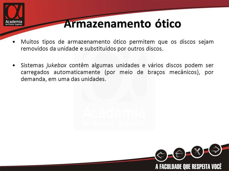 Armazenamento óticoMuitos tipos de armazenamento ótico permitem que os discos sejam removidos da unidade e substituídos por outros discos.