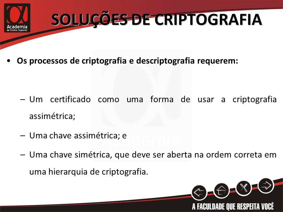 SOLUÇÕES DE CRIPTOGRAFIA