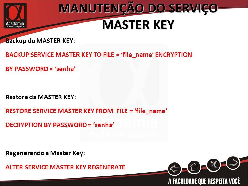 MANUTENÇÃO DO SERVIÇO MASTER KEY