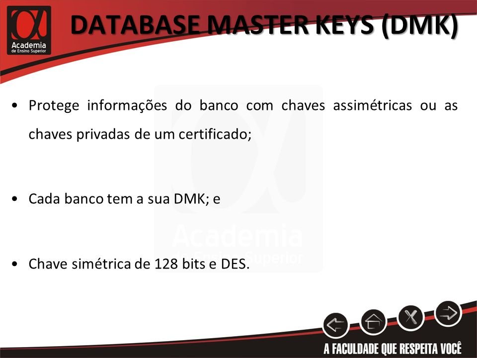 Database Master Keys (DMK)