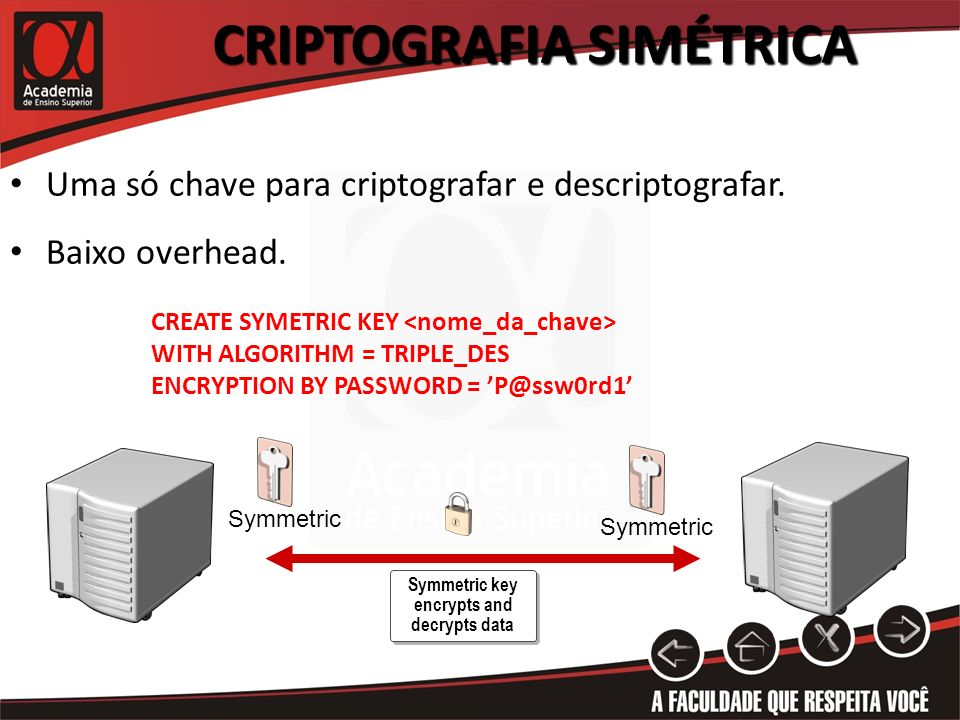 Criptografia Simétrica Symmetric key encrypts and decrypts data