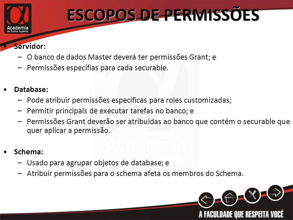 ESCOPOS DE PERMISSÕES Servidor: