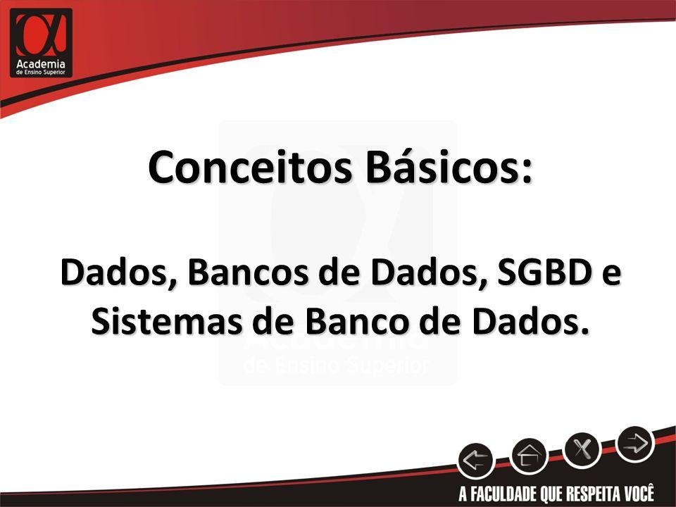 Conceitos Básicos: Dados, Bancos de Dados, SGBD e Sistemas de Banco de Dados.