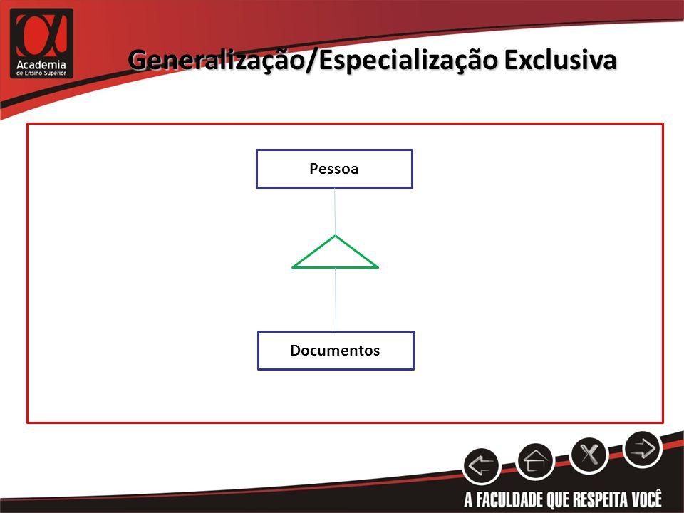 Generalização/Especialização Exclusiva