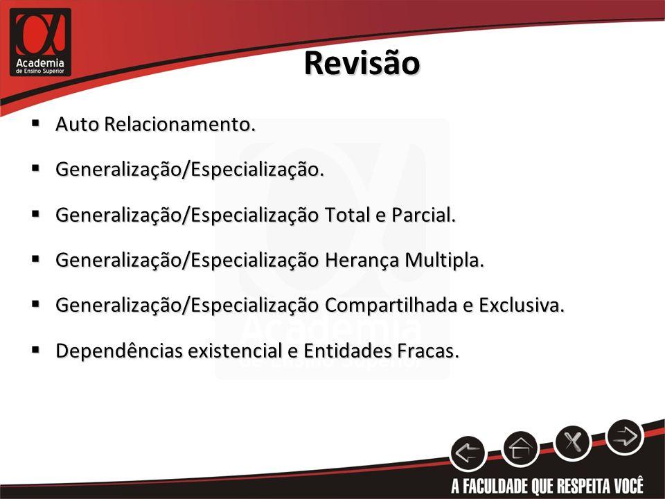 Revisão Auto Relacionamento. Generalização/Especialização.