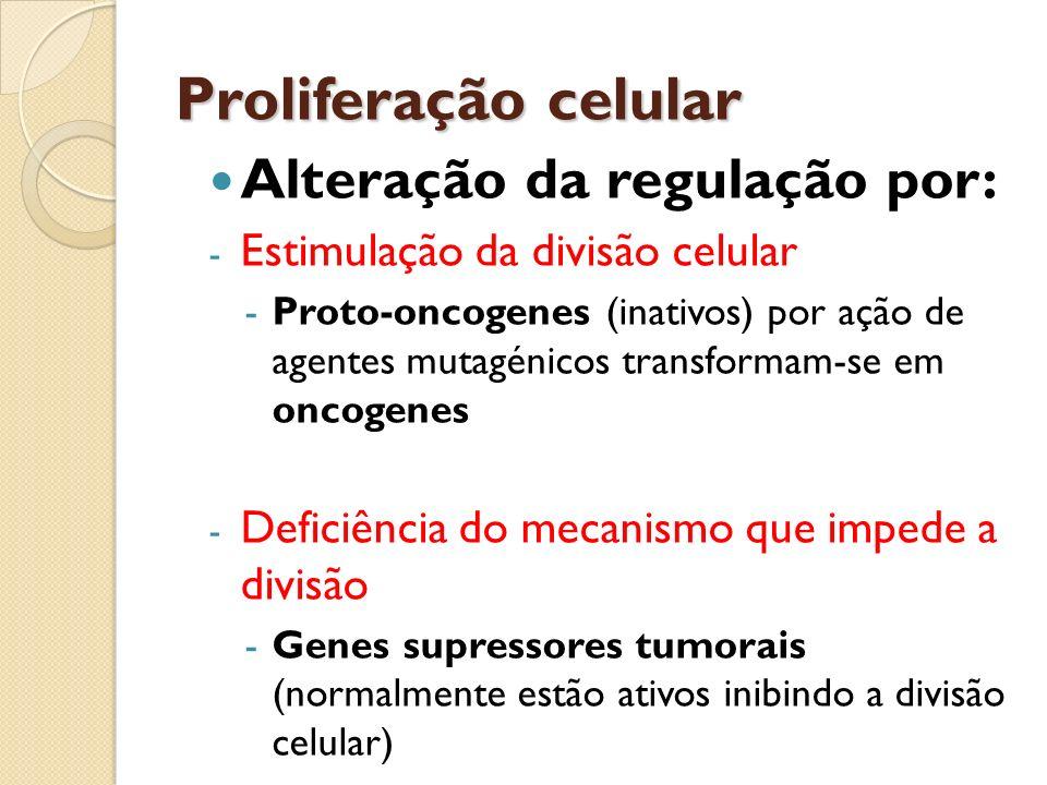 Proliferação celular Alteração da regulação por: