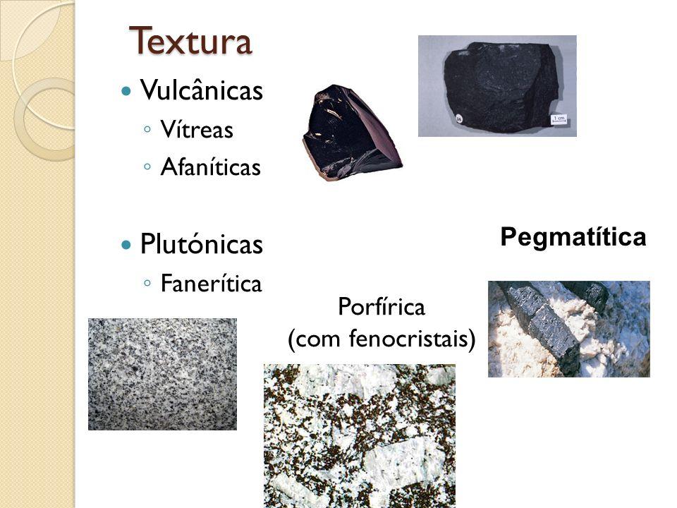 Textura Vulcânicas Plutónicas Vítreas Afaníticas Fanerítica