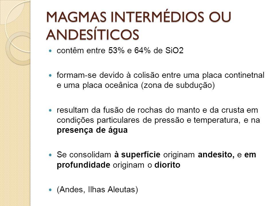 MAGMAS INTERMÉDIOS OU ANDESÍTICOS