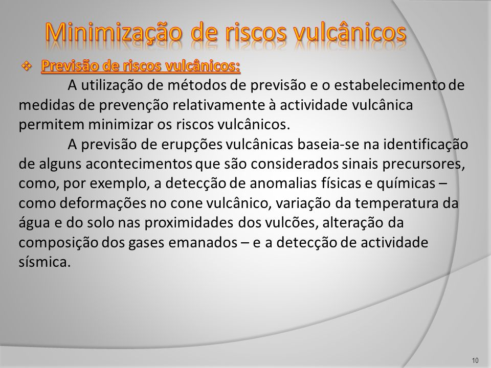 Minimização de riscos vulcânicos
