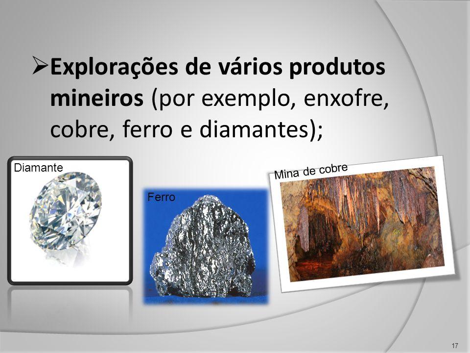 Explorações de vários produtos mineiros (por exemplo, enxofre, cobre, ferro e diamantes);