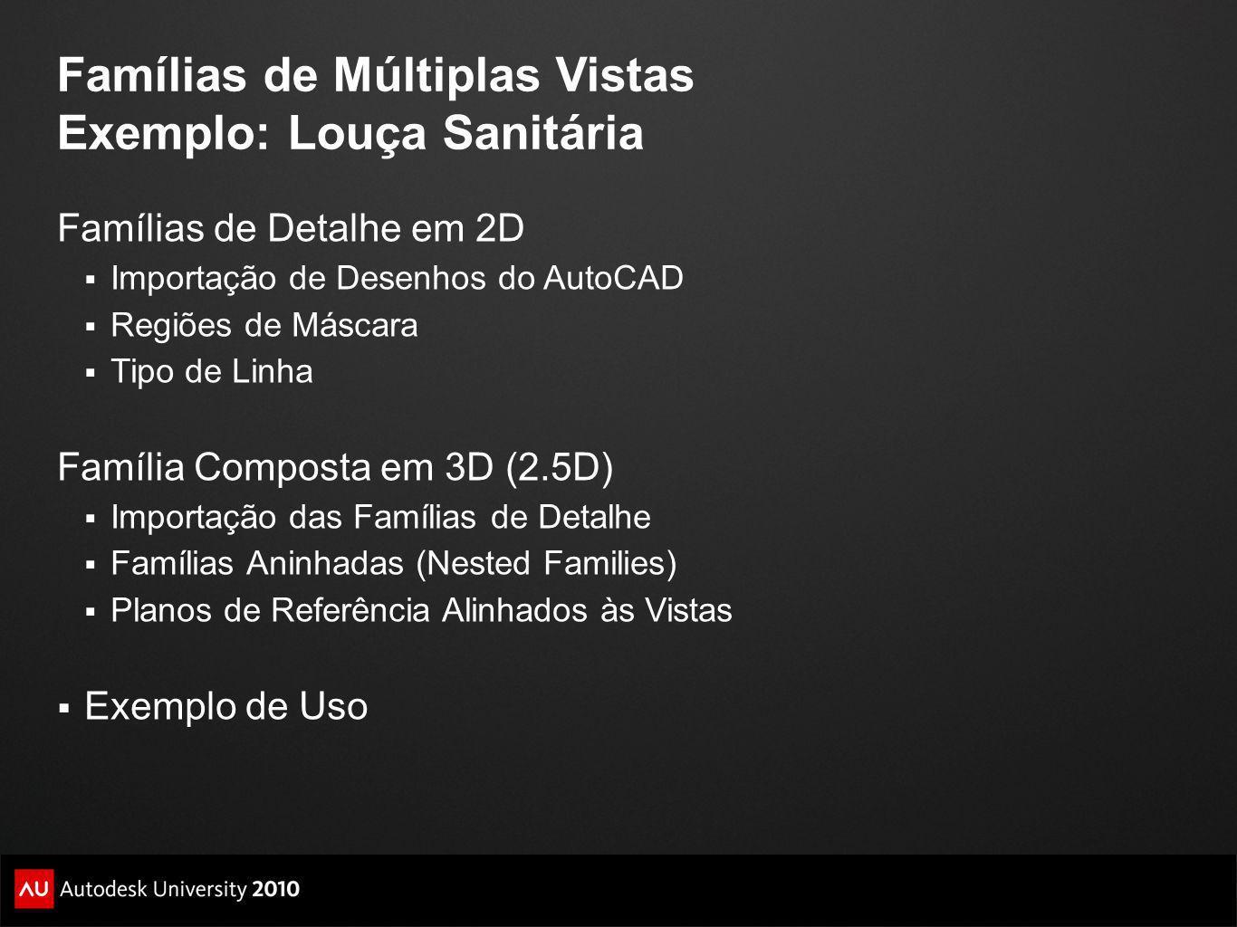 Famílias de Múltiplas Vistas Exemplo: Louça Sanitária