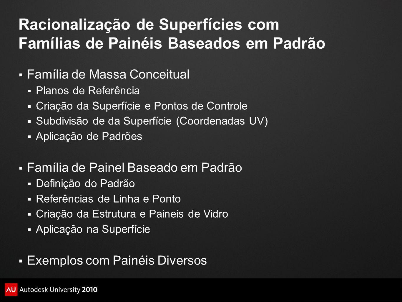 10/19/10 Racionalização de Superfícies com Famílias de Painéis Baseados em Padrão. Família de Massa Conceitual.