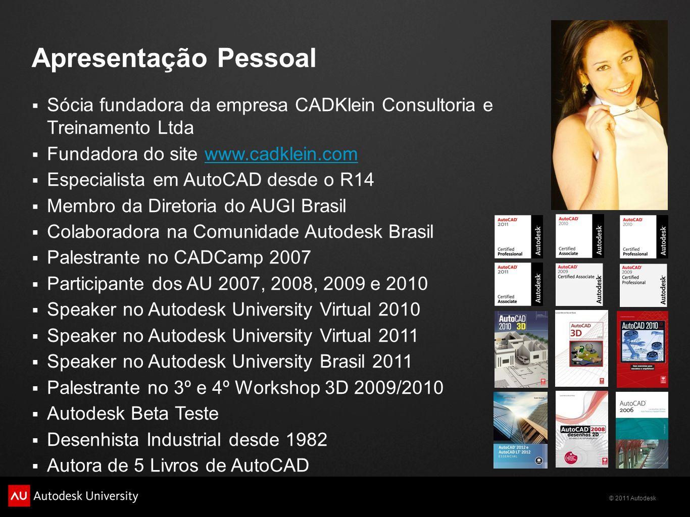 Apresentação Pessoal Sócia fundadora da empresa CADKlein Consultoria e Treinamento Ltda. Fundadora do site www.cadklein.com.