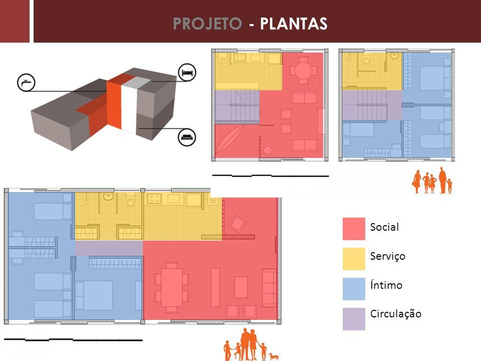 PROJETO - PLANTAS Unidade Duplex Social Serviço Íntimo Circulação